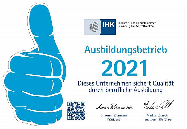 Anerkannter Ausbildungsbetrieb der IHK Nürnberg 2021